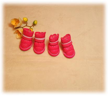 Сапоги - дутики на меху цвет малиновый