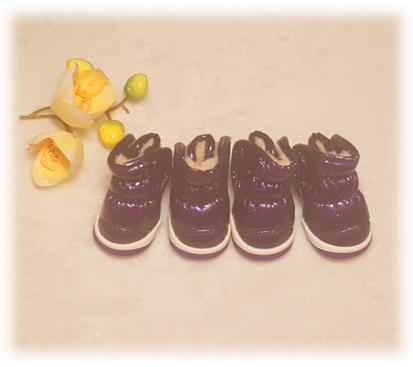 Сапоги - дутики на меху цвет фиолетовый