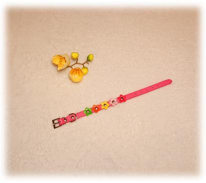Ошейник «Цветы» цвет малиновый