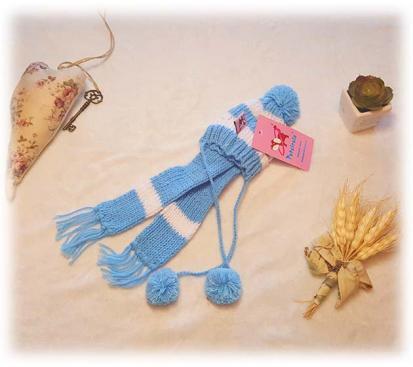 Набор ( шапка + шарф ) цвет голубой